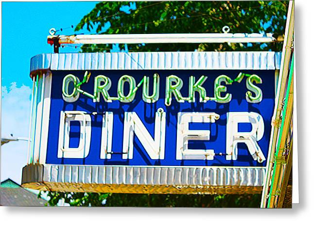 Main Street Greeting Cards - ORourkes Diner Greeting Card by Susan Vineyard