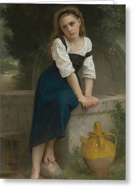 Orphan At The Fountain Greeting Card by William-Adolphe Bouguereau