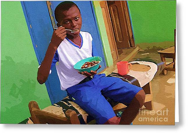 Ghana Greeting Cards - Orphan Boy Greeting Card by Deborah MacQuarrie