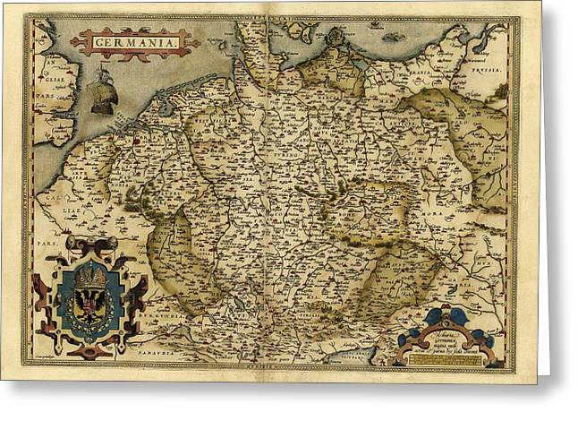 First Edition Greeting Cards - Orteliuss Map Of Germany, 1570 Greeting Card by Library Of Congress, Geography And Map Division