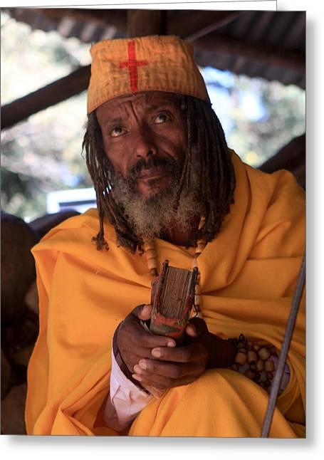 Orthodox Christian Priest , Lake Tana, Ethiopia Greeting Card by Aidan Moran
