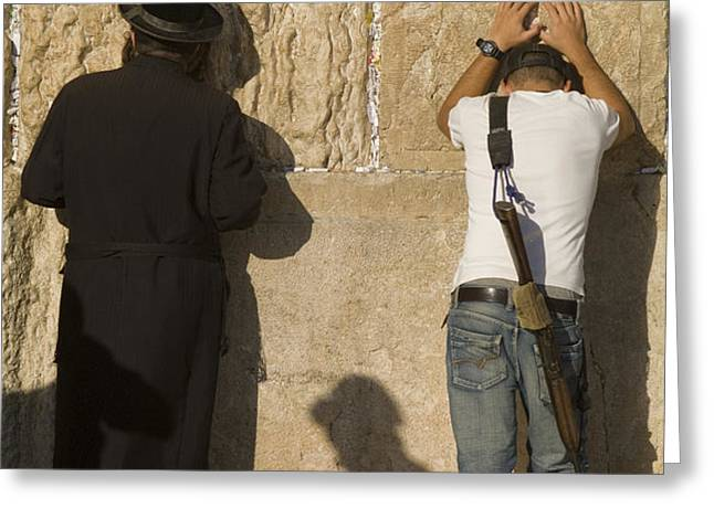 Orthodox Jew And Soldier Pray, Western Greeting Card by Richard Nowitz