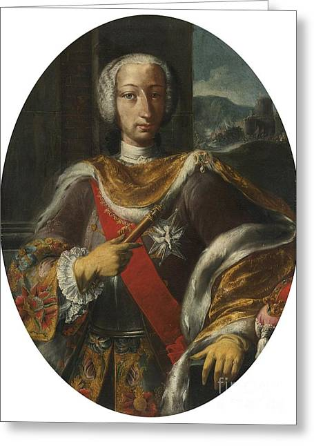 Neapolitan Greeting Cards - Ortrait Of King Charles Vii Of Naples Greeting Card by Neapolitan School