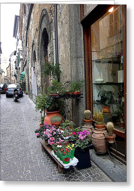 Orvieto Greeting Cards - Orvieto Italy Flower Shop Greeting Card by Mindy Newman