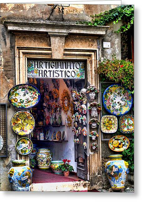 Italian Pottery Greeting Cards - Orvieto Shop Greeting Card by John Bushnell