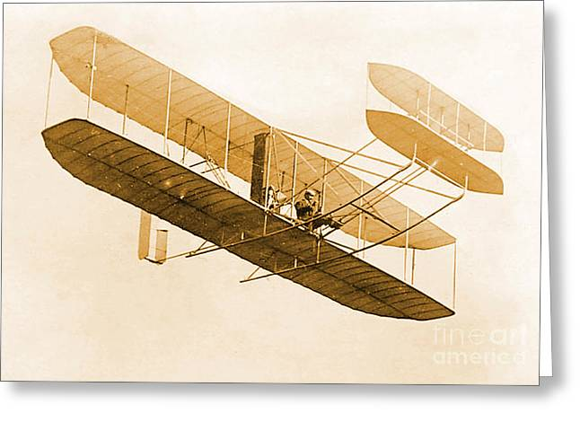 Enhanced Greeting Cards - Orville Wright In Wright Flyer 1908 Greeting Card by Science Source