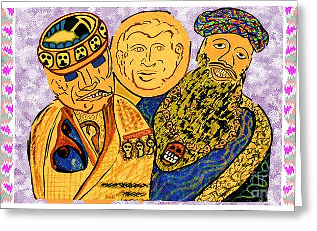 Terrorist Mixed Media Greeting Cards - Osama Bin Laden Dick Chenny and George Bush era Cartoons by NavinJoshi Greeting Card by Navin Joshi