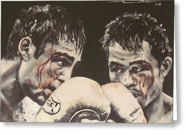 Manny Greeting Cards - Oscar de la Hoya vs Manny Pacquiao Greeting Card by Eric Dee