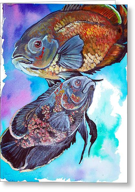 Jenn Cunningham Greeting Cards - Oscar Fish Greeting Card by Jenn Cunningham