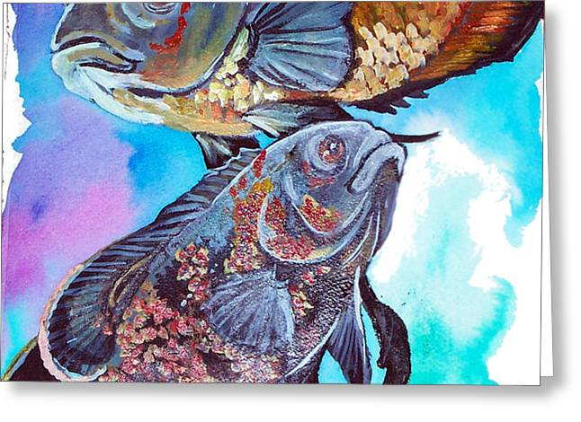 oscar fish Greeting Card by Jenn Cunningham