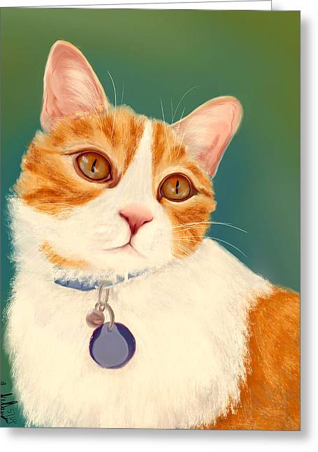House Pet Greeting Cards - Oscar- Orange Tabby  Greeting Card by Becky Herrera