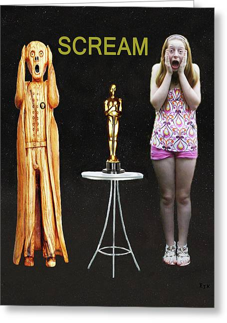Theatre World Award Greeting Cards - Oscar Scream Greeting Card by Eric Kempson