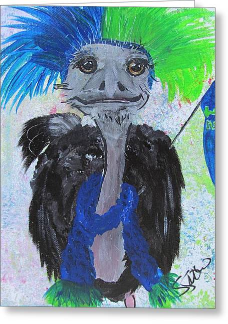 Ostrich Fan Greeting Cards - Oscar the Ostrich Greeting Card by Susan Snow Voidets