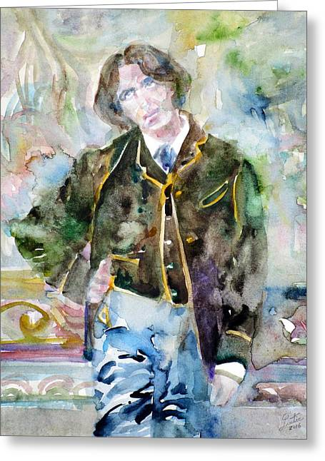 Oscar Wilde - Watercolor Portrait.10 Greeting Card by Fabrizio Cassetta