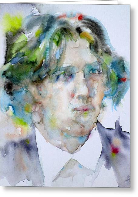 Oscar Wilde - Watercolor Portrait.13 Greeting Card by Fabrizio Cassetta