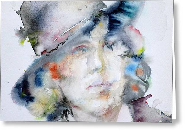 Oscar Wilde - Watercolor Portrait.14 Greeting Card by Fabrizio Cassetta