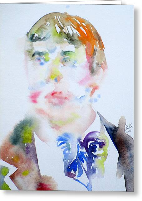Oscar Wilde - Watercolor Portrait.16 Greeting Card by Fabrizio Cassetta