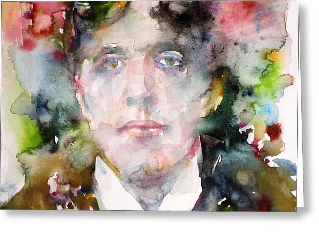 Oscar Wilde - Watercolor Portrait.9 Greeting Card by Fabrizio Cassetta