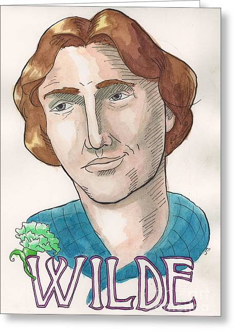Oscar Wilde Paintings Greeting Cards - Oscar Wilde Greeting Card by Whitney Morton