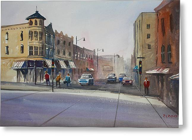 Street Scenes Greeting Cards - Oshkosh - Main Street Greeting Card by Ryan Radke