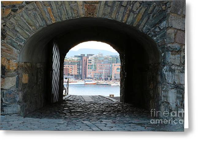 Oslo Photographs Greeting Cards - Oslo Castle Archway Greeting Card by Carol Groenen