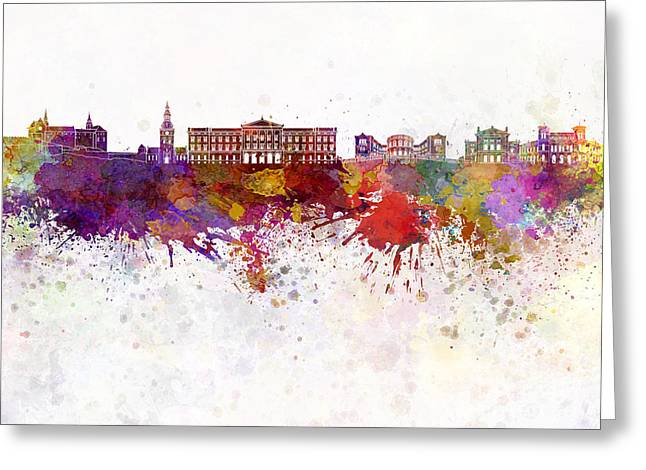 Oslo Paintings Greeting Cards - Oslo skyline in watercolor background Greeting Card by Pablo Romero