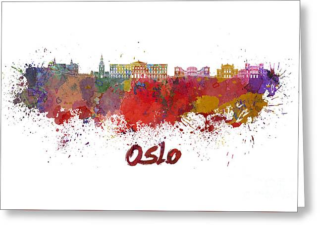 Oslo Paintings Greeting Cards - Oslo skyline in watercolor Greeting Card by Pablo Romero