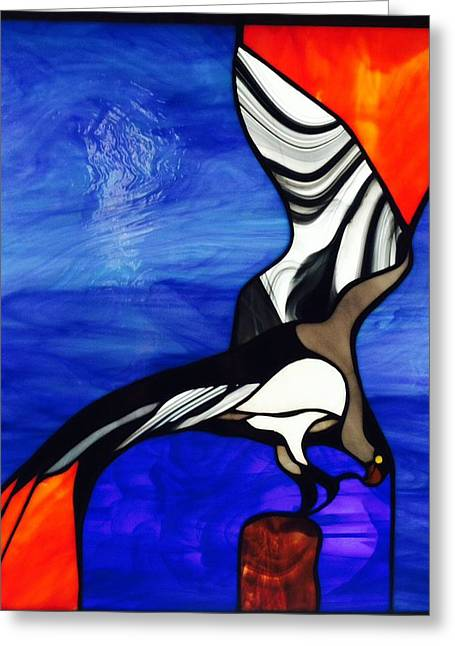 Tropical Oceans Glass Greeting Cards - Osprey  Greeting Card by Kathryn Fitzgerald