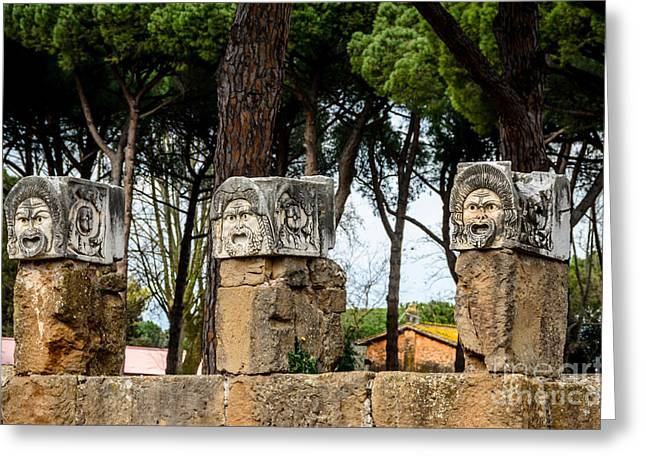 Outdoor Theater Greeting Cards - Ostia Antica - Theatre Marble Masks Greeting Card by Debra Martz