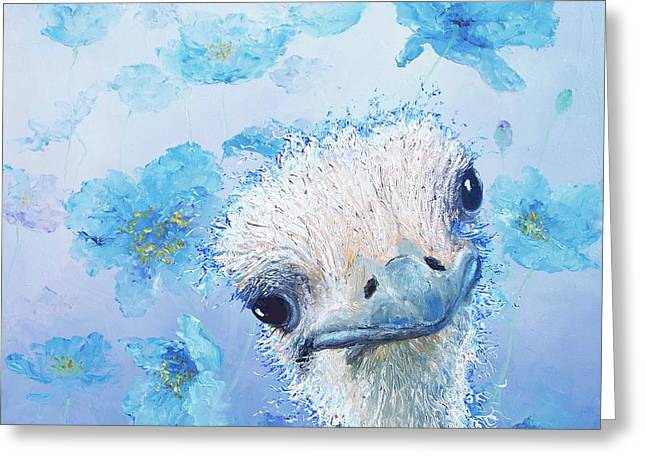 Ostrich In A Field Of Poppies Greeting Card by Jan Matson