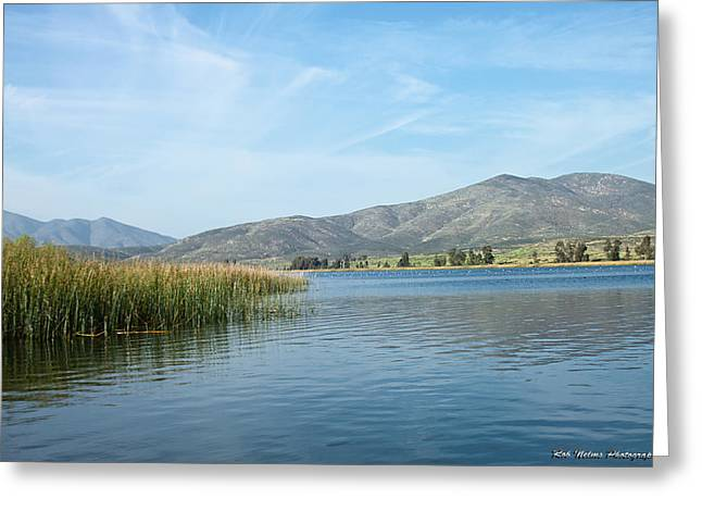 Pond Pyrography Greeting Cards - Otay Lakes Landscape Greeting Card by Rob Nelms