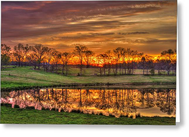 Pastureland Greeting Cards - Other Worldly Sunrise Reflections   Greeting Card by Reid Callaway