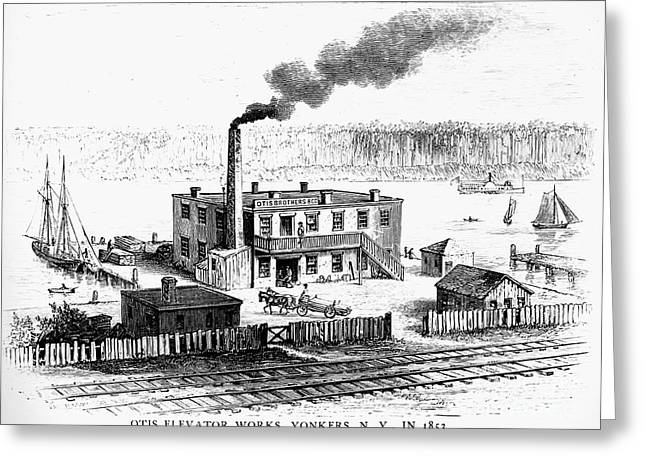 Smokestack Greeting Cards - Otis Elevator Works, 1853 Greeting Card by Granger