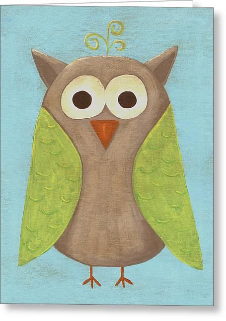 Otis The Owl Nursery Art Greeting Card by Katie Carlsruh