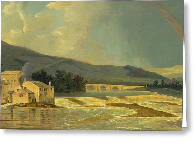 Storm. Rain. Oil On Canvas Greeting Cards - Otley Bridge over the River Wharfe Greeting Card by William Hodges