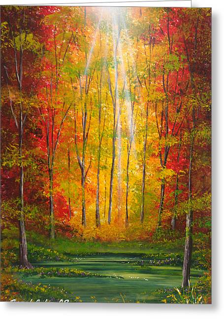 Rivers In The Fall Mixed Media Greeting Cards - Oton al Greeting Card by Angel Ortiz
