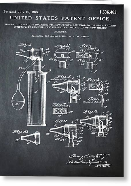 Otoscope Patent 1927 Chalk Greeting Card by Bill Cannon