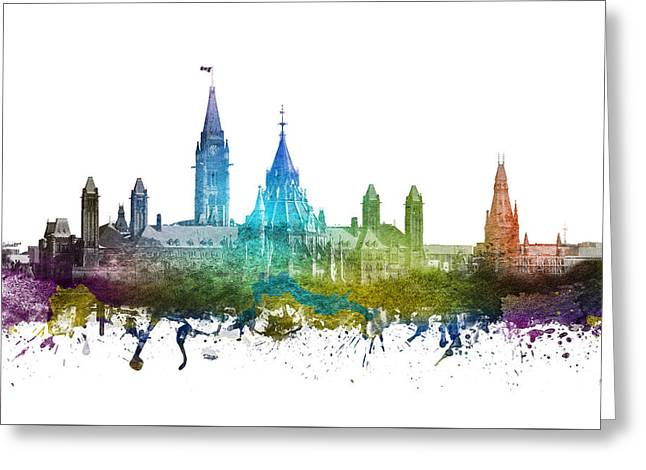 Rainbows Drawings Greeting Cards - Ottawa Capital Hill Skyline 01 Greeting Card by Aged Pixel