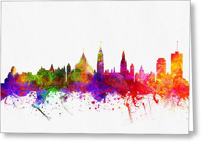 Ottawa Skyline Greeting Cards - Ottawa Ontario skyline Color02 Greeting Card by Aged Pixel