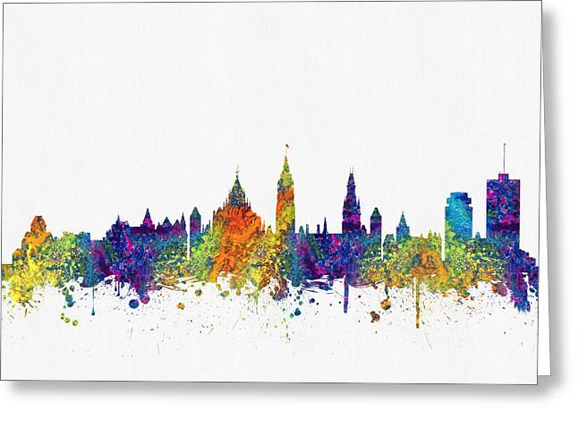 Ottawa Skyline Greeting Cards - Ottawa Ontario skyline Color03 Greeting Card by Aged Pixel
