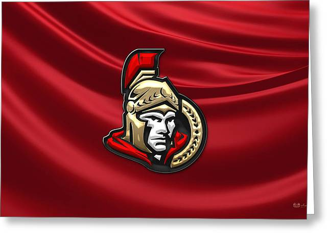 Hockey Memorabilia Greeting Cards - Ottawa Senators - 3D Badge over Silk Flag Greeting Card by Serge Averbukh