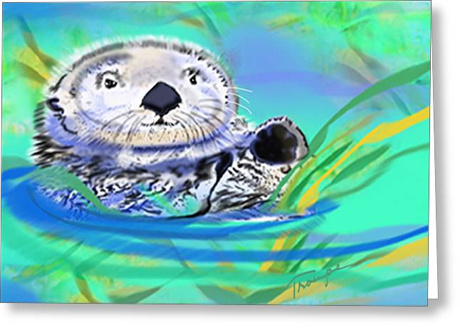 Love The Animal Greeting Cards - Otter  Greeting Card by Connie  Troupe