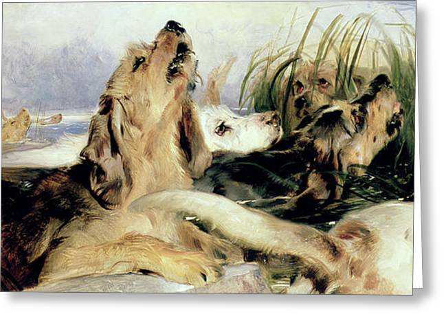 Howling Greeting Cards - Otter Hounds Greeting Card by Sir Edwin Landseer