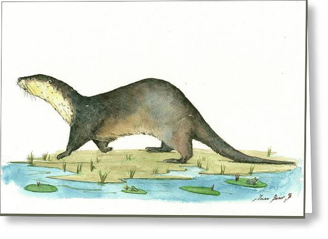 Otter Greeting Card by Juan Bosco