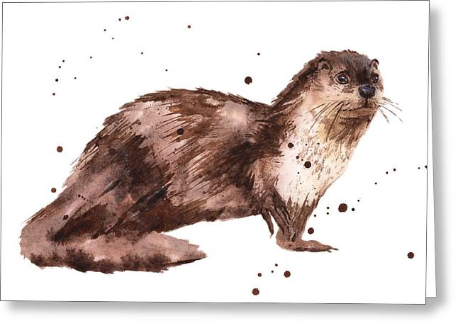 Otter Greeting Cards - Otter Painting Greeting Card by Alison Fennell