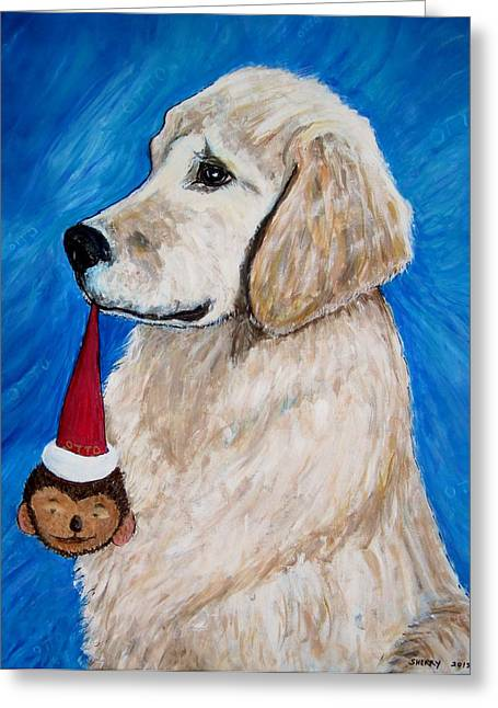 Toy Dog Greeting Cards - Otto and  his toy Greeting Card by Sherry Heller