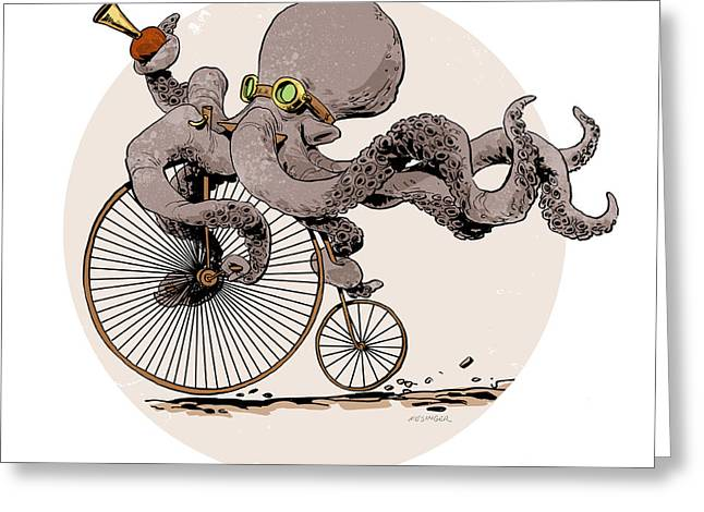 Octopus Greeting Cards - Ottos Sweet Ride Greeting Card by Brian Kesinger