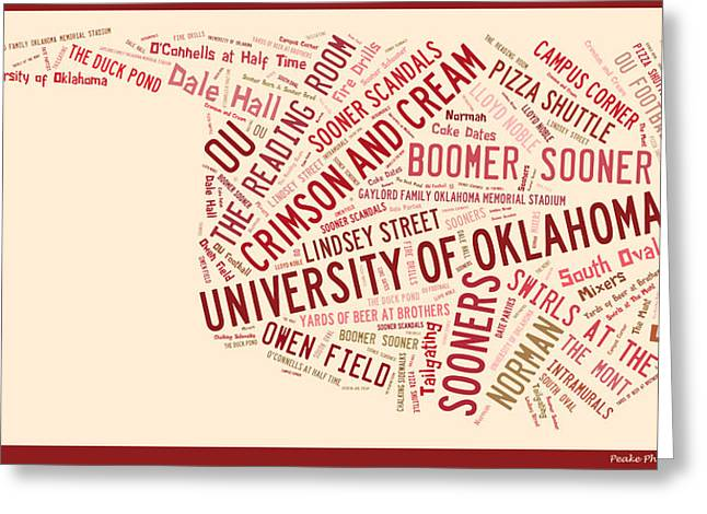 Oklahoma University Greeting Cards - OU Word Art University of Oklahoma Greeting Card by Roberta Peake