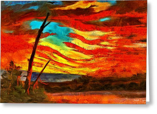 Our Banner In The Sky Revisited - Pa Greeting Card by Leonardo Digenio