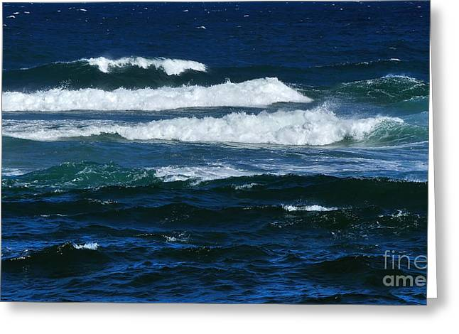 Blue Green Wave Greeting Cards - Our Beautiful Ocean Greeting Card by Kaye Menner
